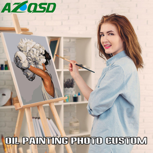 AZQSD Painting By Numbers For Portrait Wedding Family Pet Photos Custom Digital Painting Coloring By Numbers On Canvas Paints