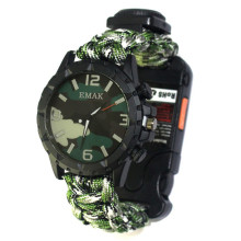 Men's Sports Watch Traveling Survival Whistle Mountaineering Watch Emergency Umbrella Weaving Outdoor For Camping Adventure(China)