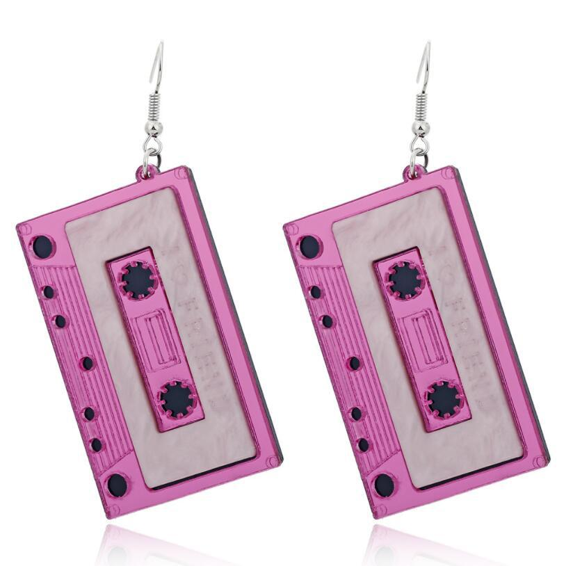 New Trends Acrylic Earrings Korean Edition Personality Exaggeration Funny Retro Tape Stage Ear Jewelry Earrings
