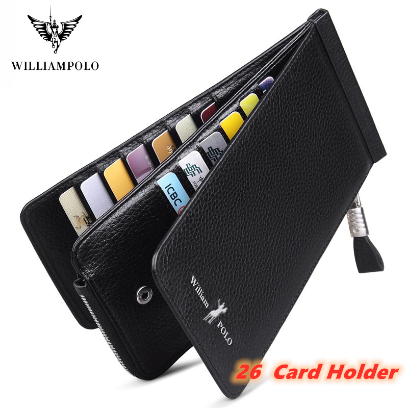 WILLIAMPOLO Luxury Brand Leather Genuiner Long Wallet Men Marvel Slim  Zipper Coin Card Phone Case Money Purses Clutch Bag