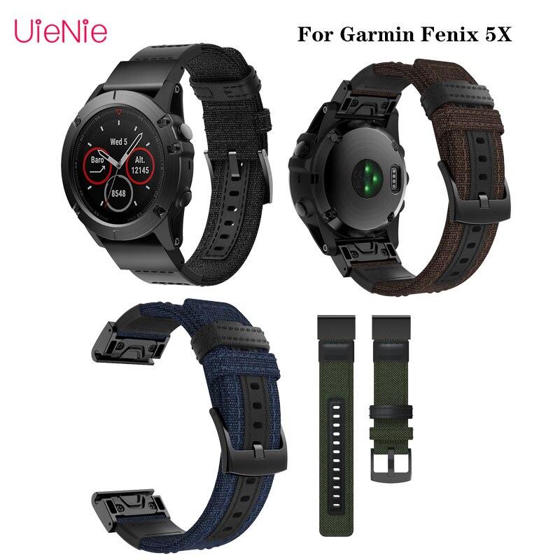 For Garmin Fenix5X 26mm Canvas Quick Release Strap For Garmin Fenix 3 Smart Watch Wristband Bracelet Replacement Accessory
