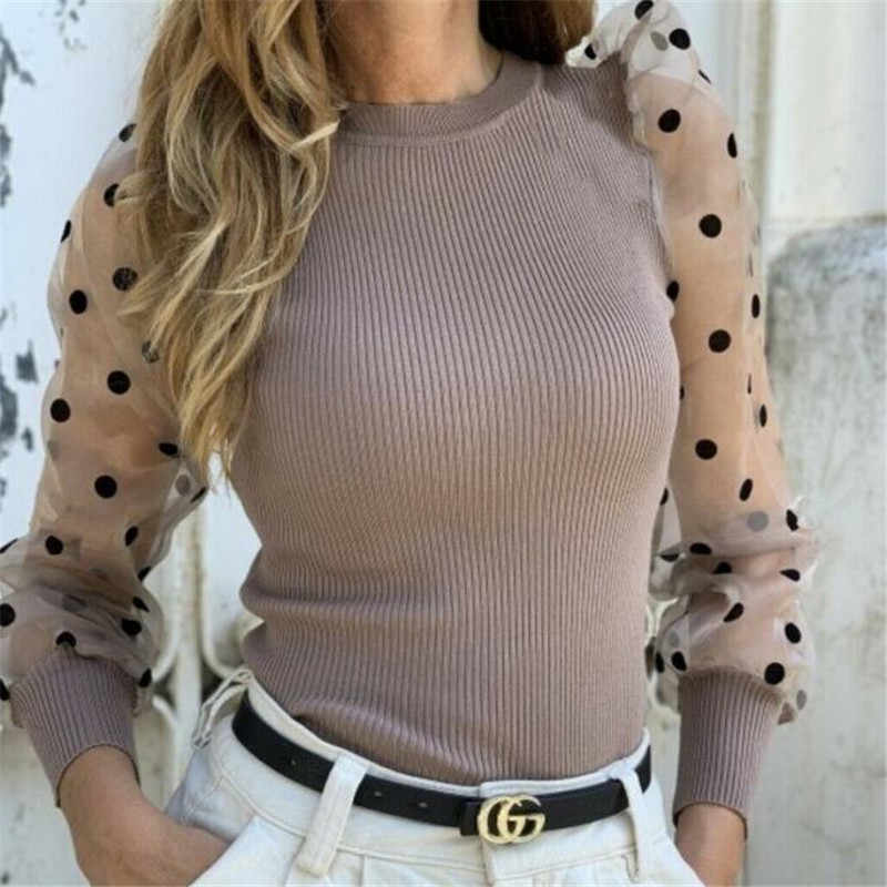 Turtleneck Knitted Polka Dot Puff Long Sleeve Blouse Women Mesh Sheer See-through Shirt Elegant Ladies Slim Tops Blusa Femme
