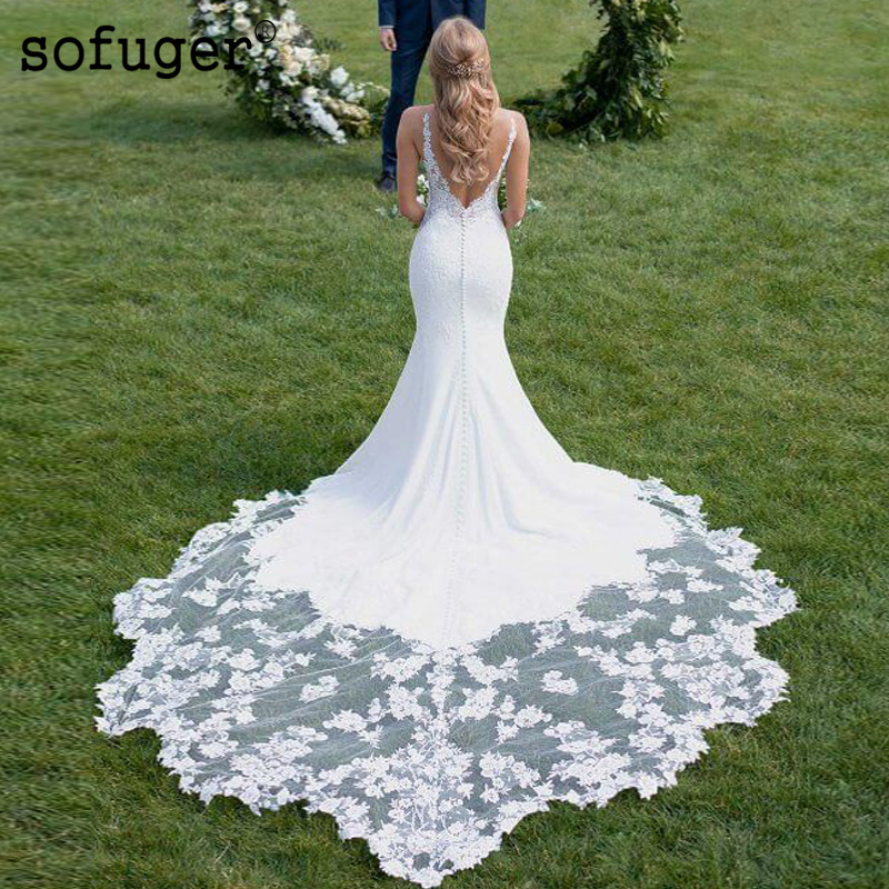Sexy Backless Mermaid Wedding Dress Lace Appliques Spaghetti Straps Sweetheart Robe De Mariee Sofuge Dubai Arabic Abiti Da Sposa