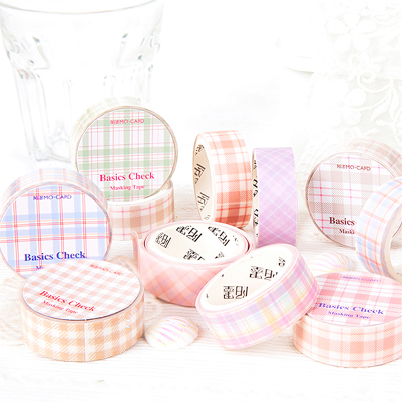 Basic Check Series Color Paper Washi Tape 15mm Lattice Plaid Tartan Adhesive Masking Tapes Diary Album Stickers Decoration A6476