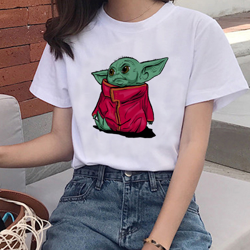Funny Baby Yoda Mandalorian Casual T-shirt Movie Star Wars Harajuku Kawaii Tops Tshirt Cute Cartoon Pattern Top Tee Girl 80s 90s