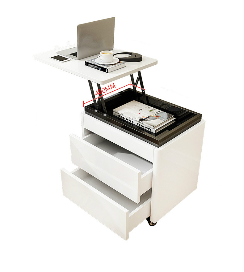 Multifunctional Crane Nightstand Computer Small Bedroom Simple Paint White Piano  Storage Room