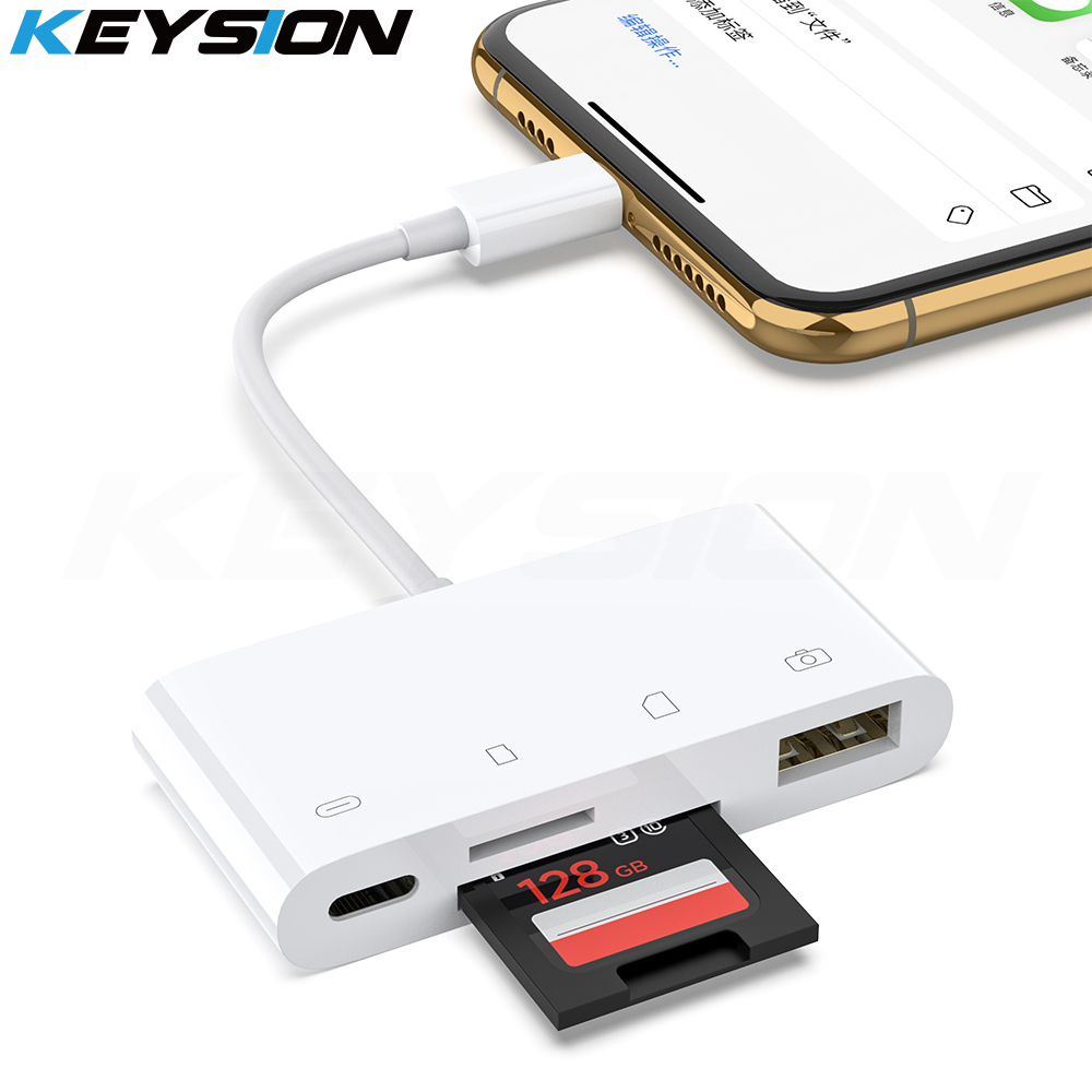 KEYSION 4in1 OTG Card Reader For IPhone 11 Pro Max XS Max XR 8 7 SD TF Memory Card Writer Camera Connection Kit Adapter For IPad