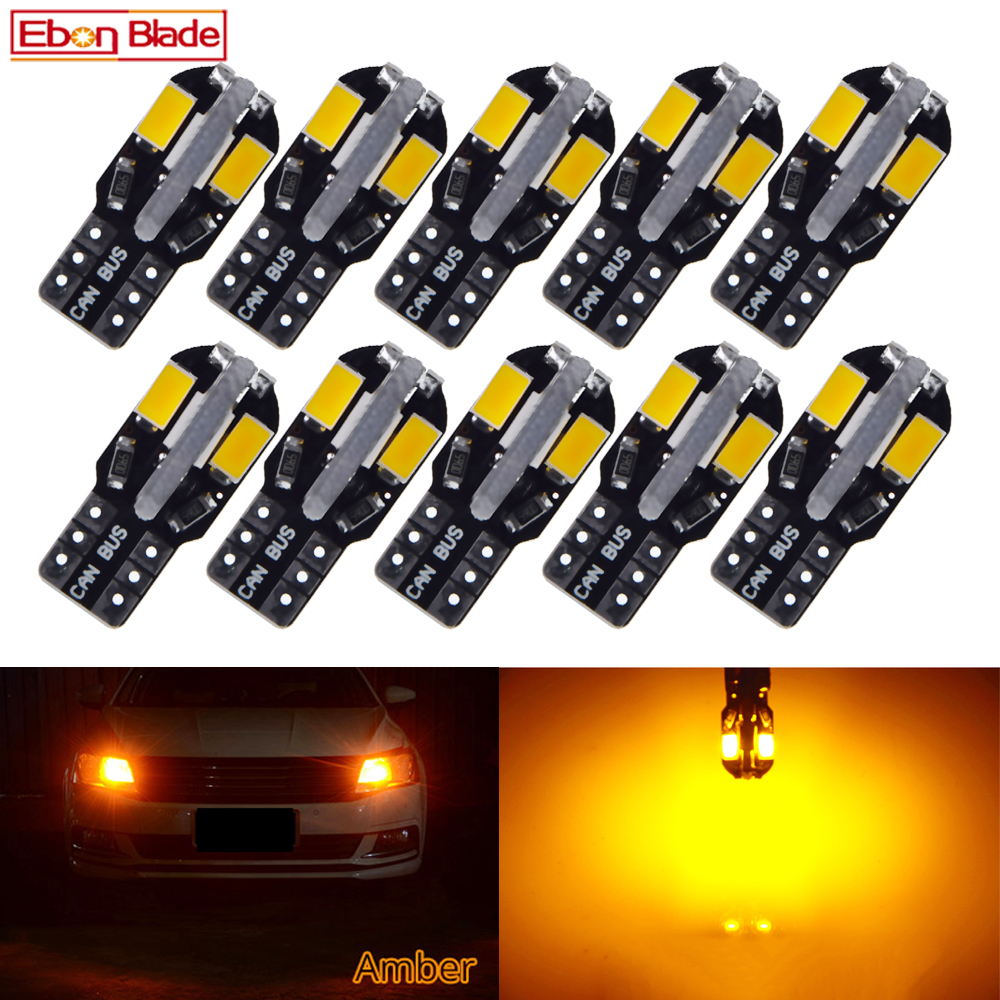<font><b>10Pcs</b></font> <font><b>T10</b></font> Led <font><b>Canbus</b></font> W5W Led Bulb 168 194 Car Interior Lights Signal Lamp Dome Reading License Plate Light Auto 12V Amber Orange image
