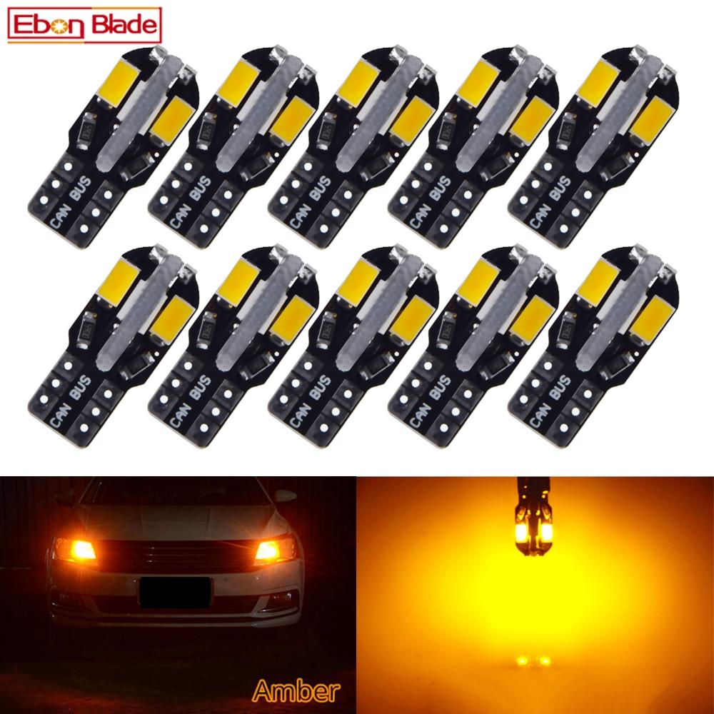10Pcs T10 Led Canbus W5W Led Bulb 168 194 Car Interior Lights Signal Lamp Dome Reading License Plate Light Auto 12V Amber Orange