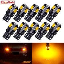 T10 lâmpadas led canbus w5w, lâmpada para interior do carro, 168 194, luz, domo, luz para leitura, luz da placa de licença, com 10 peças auto 12v âmbar laranja