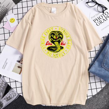 Cobra Kai T Shirt Men Strike First Strike Hard No Mercy Tshirt Shirts Cotton Summer Top Tshirts Short Sleeves Tees Black T-Shirt 2