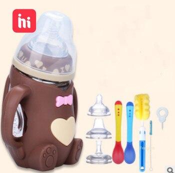 Compre uno y consiga ocho biberones para bebés, botella de vidrio de alimentación segura, botella de leche de silicona con mango, boca suave