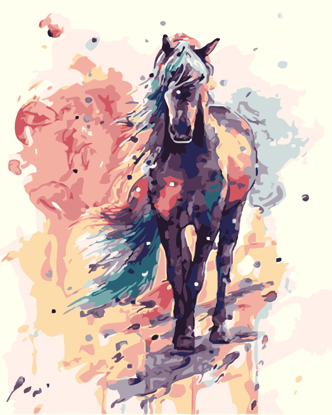New Factory Direct DIY Digital Oil Painting Living Room Scenery Hand-Painted Decorative Painting Wholesale 40*50 Colorful Horse