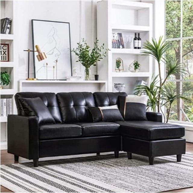 Combination Sofa Couch L-Shape Black  6