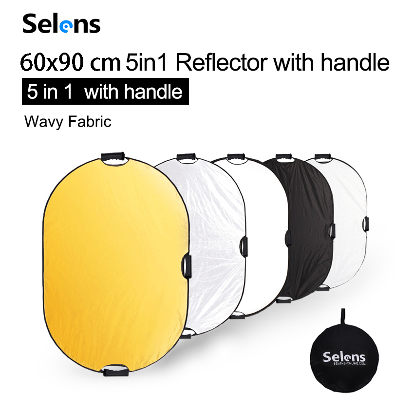 60x90cm Reflector Photography Light Diffuser Portable Camera Light Reflector with Carry Case Reflector For Photography 5 in 1