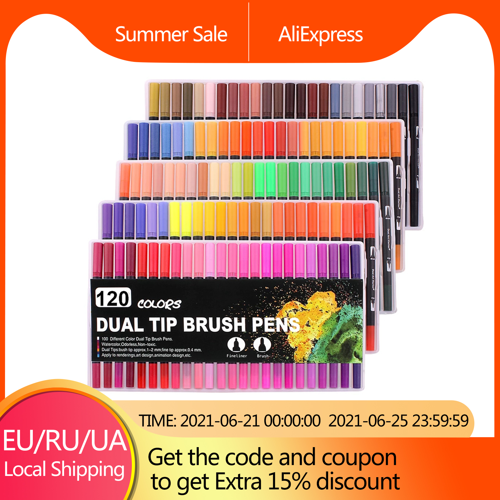Fineliner Watercolor Brush Markers Dual Tip Drawing for Manga 12 24 36 48 60 72 100 120 Colors Watercolor Brush