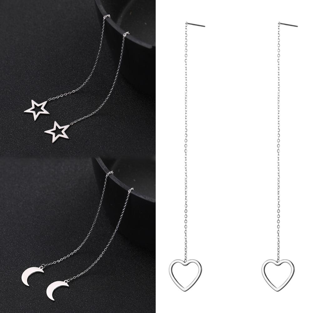 Teamer Stainless Steel Earrings for Women Long Line Chain Korean Star Moon Heart Earrings Fashion Jewelry Linear Threader