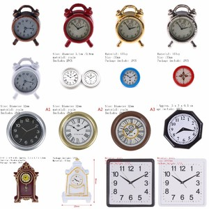 Image 1 - 1/2PCS Lovely 1:12 Scale Alarm Clock Mini Dollhouse Miniature Toy Doll Kitchen Living Room Accessories Home Decoration 6 Colors