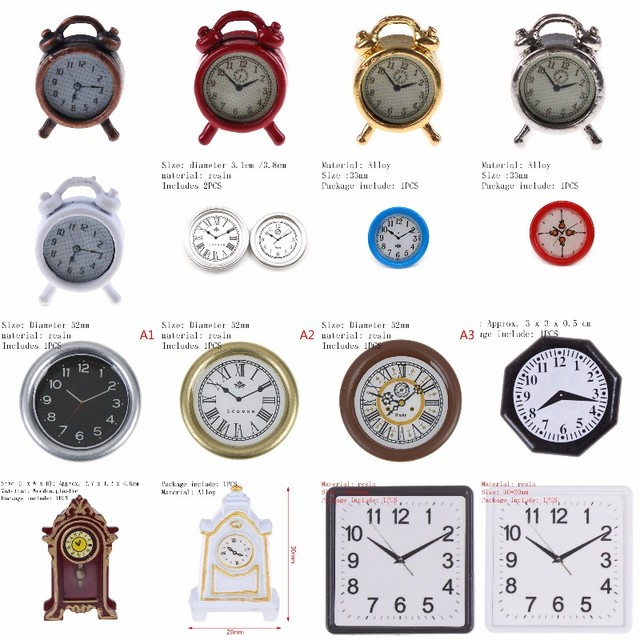 1/2PCS Lovely 1:12 Scale Alarm Clock Mini Dollhouse Miniature Toy Doll Kitchen Living Room Accessories Home Decoration 6 Colors
