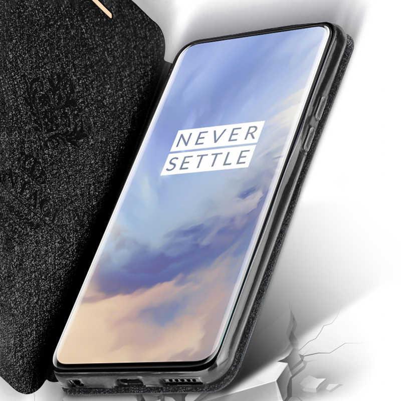 Capa de silicone flip de couro para oneplus 7 pro, capa estilo mofi 360 à prova de choque
