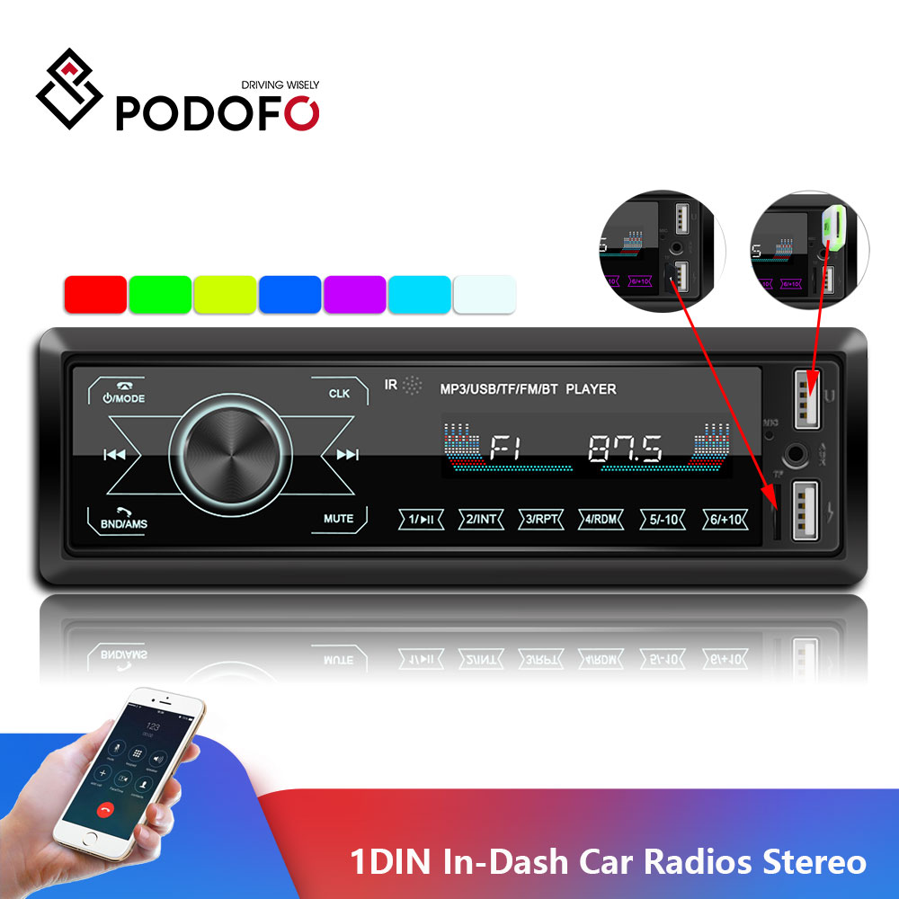 Podofo Autoradio 12V 1din Car Radio Bluetooth Car Stereo In-Dash MP3 Player Phone AUX-IN FM/USB/Radio Remote Control Car Audio