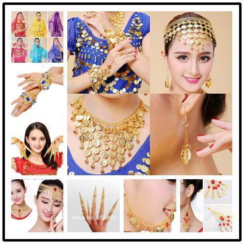 Indian Belly Dance Imitation Ruby Nose Rings Necklace Avalokitesvara Egypt Dance Hoop Earring Gold Coin Bracelet Body Jewelry