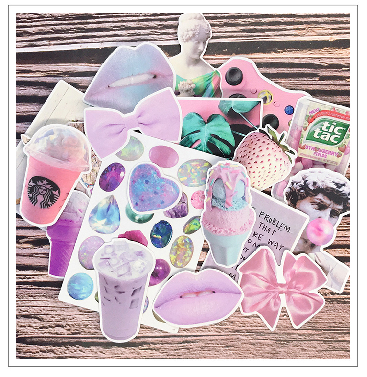 21PCS Pink Stickers Crafts And Scrapbooking Stickers Book Student Label Decorative Sticker Kids Toys