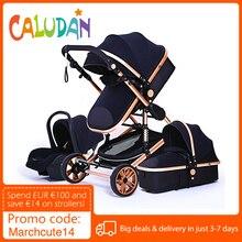 Роскошная детская коляска 3 в 1, оригинальная портативная коляска, складная коляска с алюминиевой рамкой, коляска с высоким ландшафтом для н...
