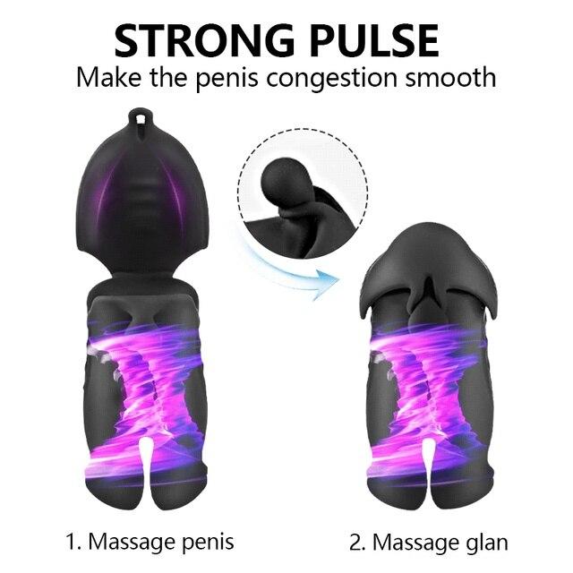 10 Modes Penis Delay Trainer Ghost Exerciser Male Masturbator Sex Toys For Men Penis Vibrator Electric Pulse Sex Glans Stimulate