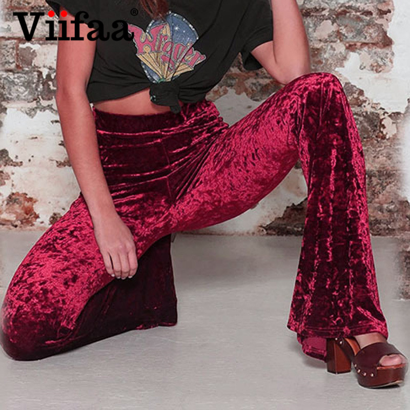 Viifaa Wide Leg High Waist Velvet Flare Pants Stretchy Skinny Streetwear Trousers Women 2019 Autumn Winter Clothes Slim Pants