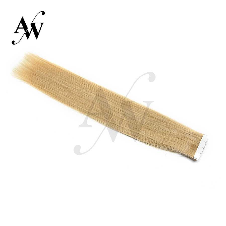 Aw 12 ''16'' 20 ''Mini Tape In Human Hair Extensions Straight Naadloze Onzichtbare Natuurlijke Machine Gemaakt Remy lijm Extension