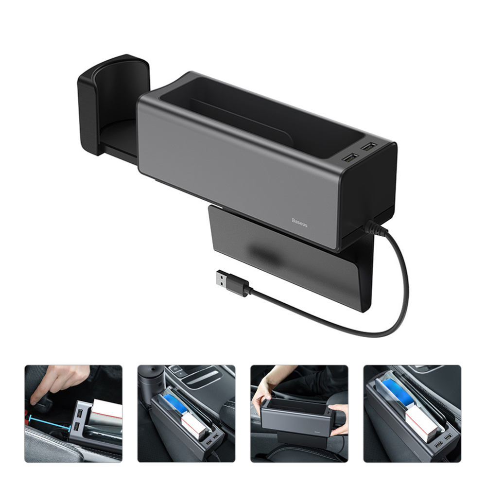 Armrest Console Organizer Cup Holder Phone Holder 2 USB Car Seat Container