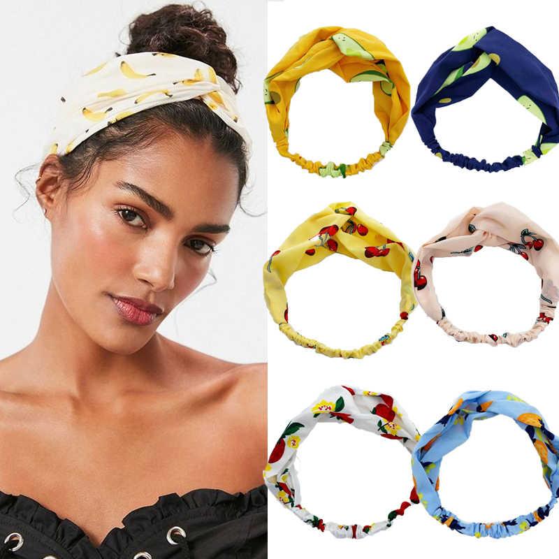ดอกไม้พิมพ์ Scrunchie ผู้หญิงแถบคาดศีรษะ Bohemian Hairband โบว์ผมเชือกผม TIES อุปกรณ์เสริม