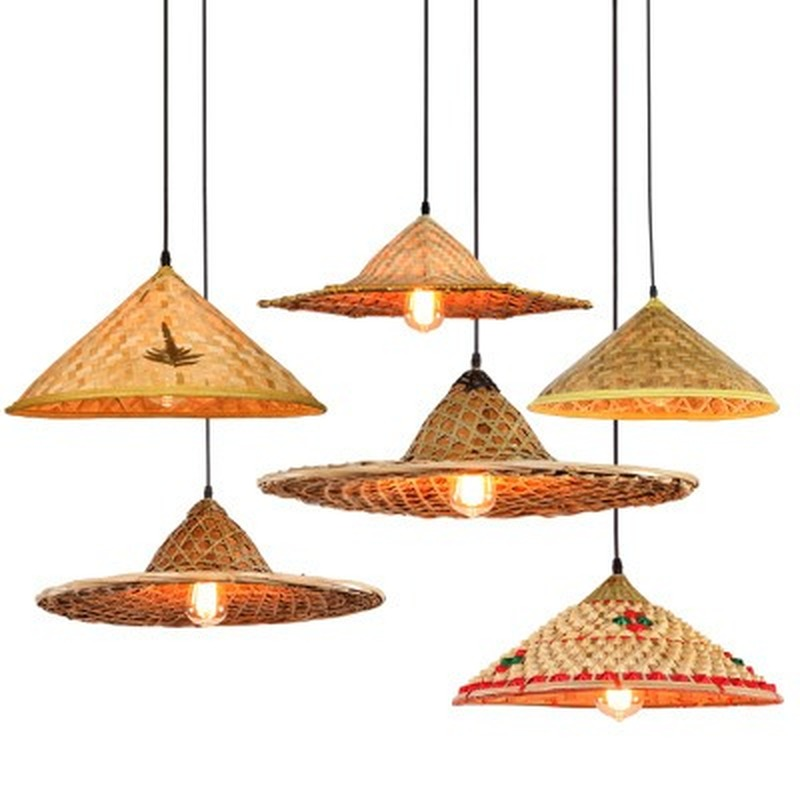 Bamboo Wicker Rattan Hat Pendant Light Fixture Rustic Asian Japanese Hanging Lamp Avize Luminaria Dining Table Room Restaurant