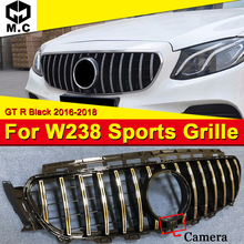 цена на For MercedesMB W238 Coupe Front Grille Grill GT R Style W/Camera ABS Gloss Black E200 E250 E300 E350 400 500 E63 Look Grills 16-