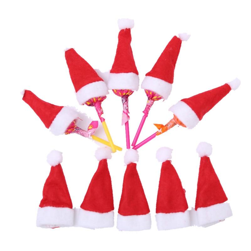 4*7cm Christmas Decorations Mini Christmas Hat Christmas Lollipop Hat Non-woven Cap Christmas Tree Decoration Wine Bottle Cover