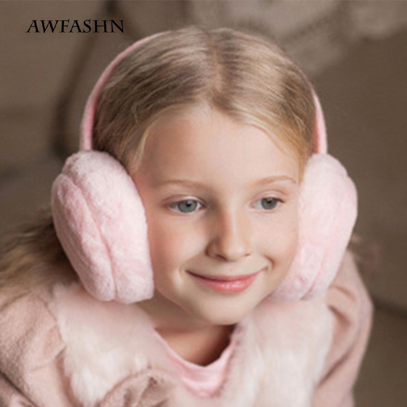 2019 Solid Color Children's Winter Warm Earmuffs Boys And Girls Warm Headphones Fluff Comfort Baby Headphones Ski Warm Earmuffs