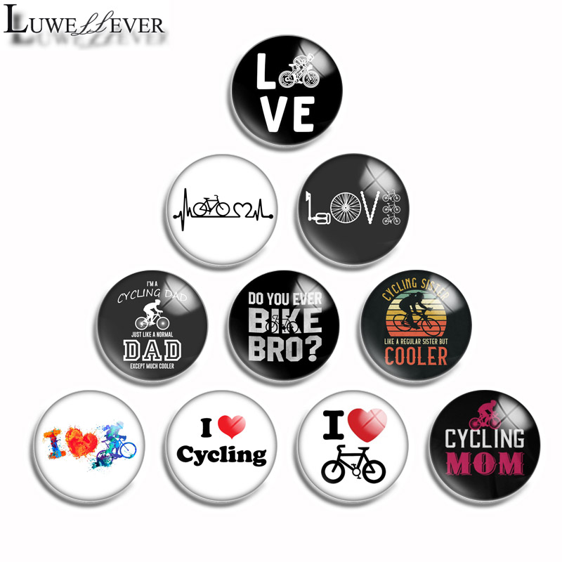 10mm 12mm 16mm 20mm 25mm 30mm 501 Love Cycling Mix Round Glass Cabochon Jewelry Finding 18mm Snap Button Charm Bracelet