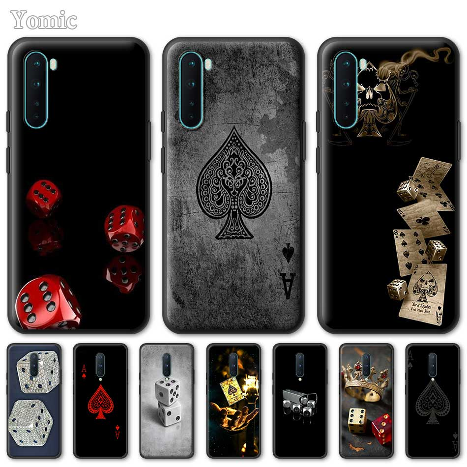 Silicone Phone Case For OnePlus Z 8 Nord 6T 6 7 7T Pro 5G Black Soft Coque Dice Poker A TPU Cover Shell
