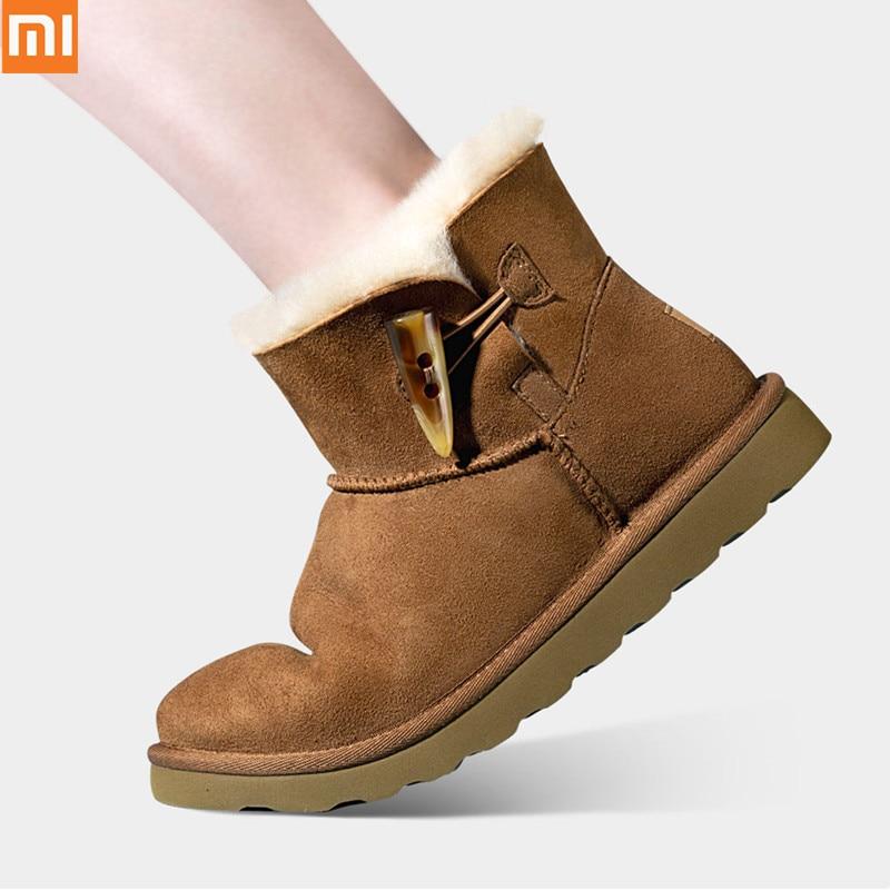 Original Xiaomi Qi main bottes de neige en fourrure pour femmes 17MM longueur de fourrure chaussures douces chaudes avec haute élastique résistant à l'usure semelle antidérapante