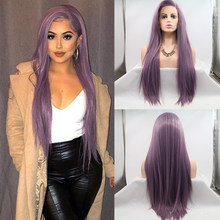 Baicheng Purple Lace Front Wigs Natural Looking Long Straight Hair Beautiful Color Wig For Women Side Part Glueless