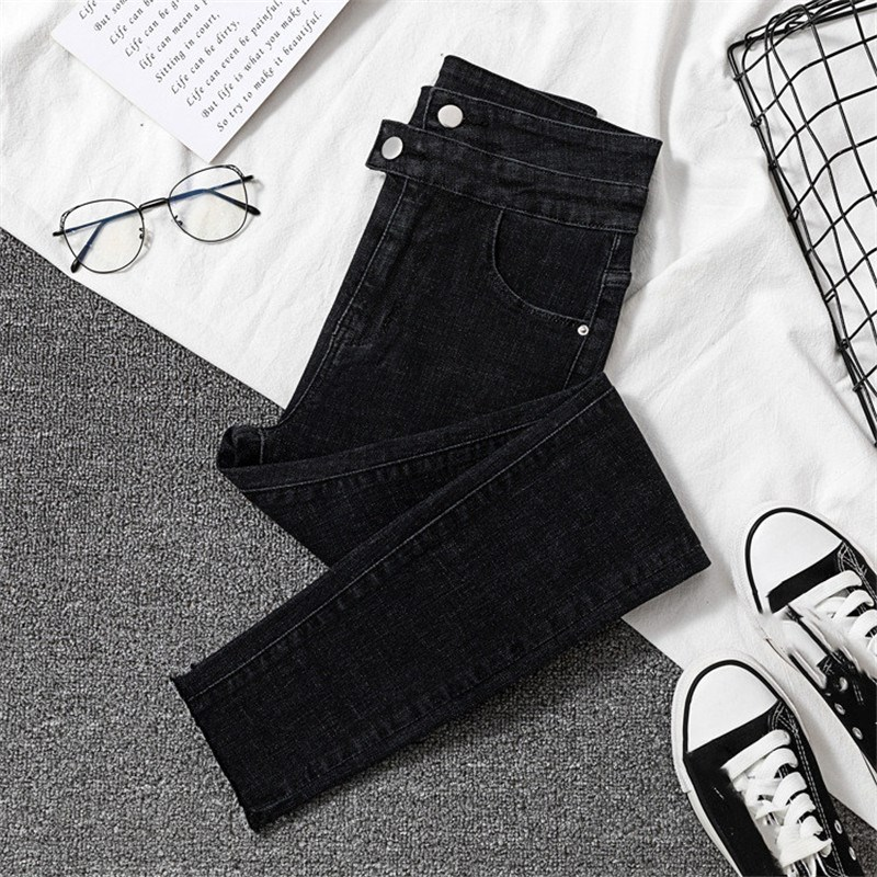 Nice Women Black High Waist Jeans Casual Stretch Slim Skinny Jeans Female Casual Trousers Pencil Denim Pants