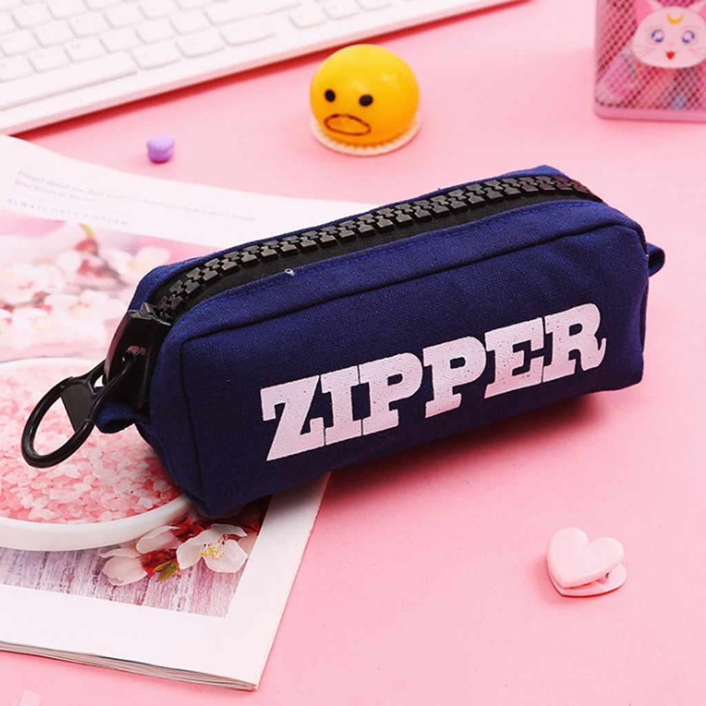 CONEED sacs de rangement porte-crayon grande capacité Simple toile sac de rangement pour femmes fermeture éclair sacs en plastique organisateur 19AUG14