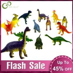 12pcs/lot Dinosaurs Model Cute Animals Gifts Boys Toys Hobbies Kids Mini Small Plastic Dinosaurus Figures GYH