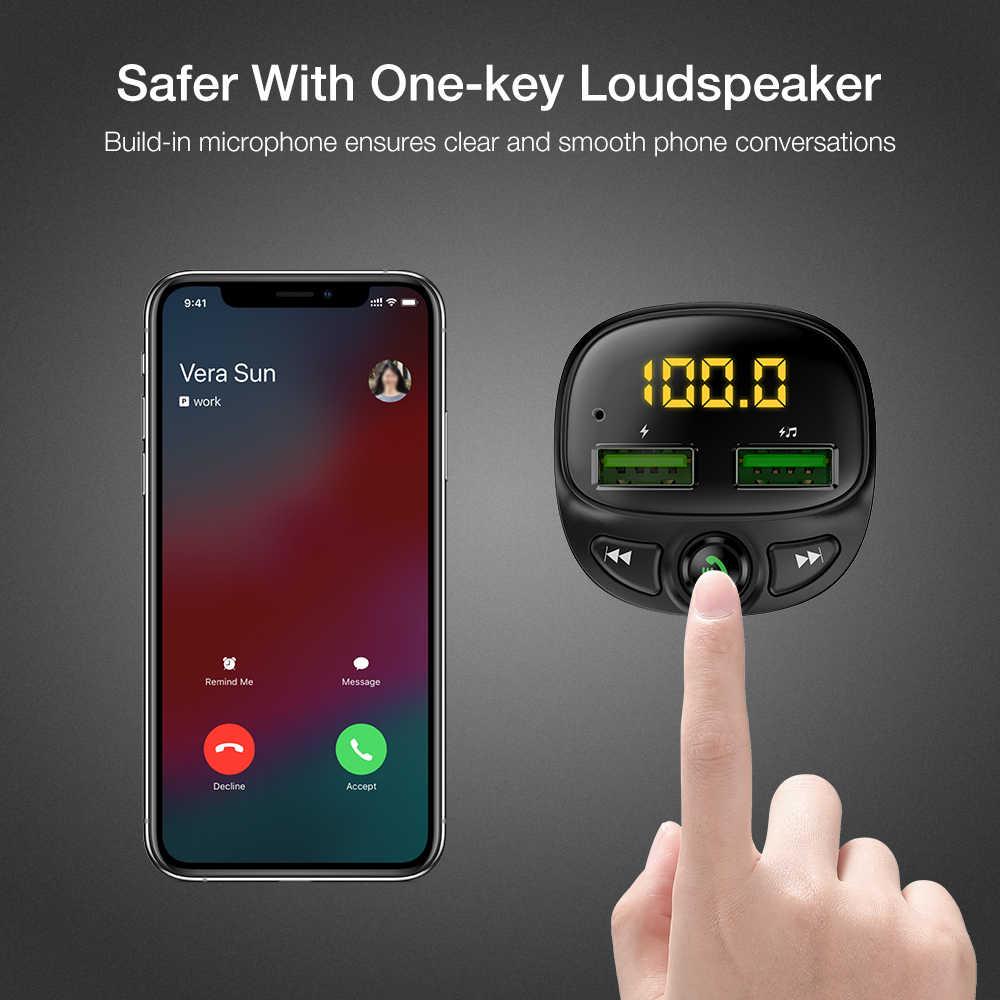 Floveme Sạc USB Ô Tô Cho Điện Thoại Bluetooth Không Dây Phát FM MP3 Người Chơi Dual USB Sạc Thẻ TF Nhạc Handfree Xe Ô Tô bộ