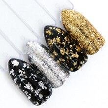 1 sztuk lustro fajerwerków sypki brokat do paznokci cekiny złoty srebrny błyskotka nieregularny kształt kameleon Nail Art Flake Tip LACB01/02 1
