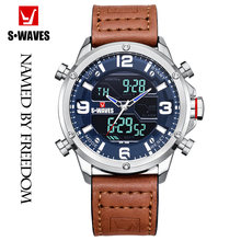SWAVES Fashion Man Watch 2019 Waterproof Quartz Alarm Clock Reloj Hombre Leather Belt Army Silver Blue Casual Wristwatch Mens(China)