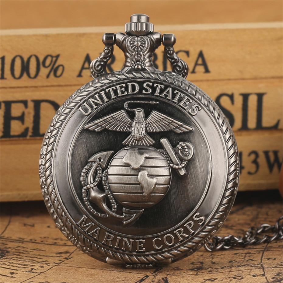 Vintage Grey United State Marine Corps Design Quartz Pocket Watch Exquisite Souvenir Pendant Necklace Fob Chain Retro Clock