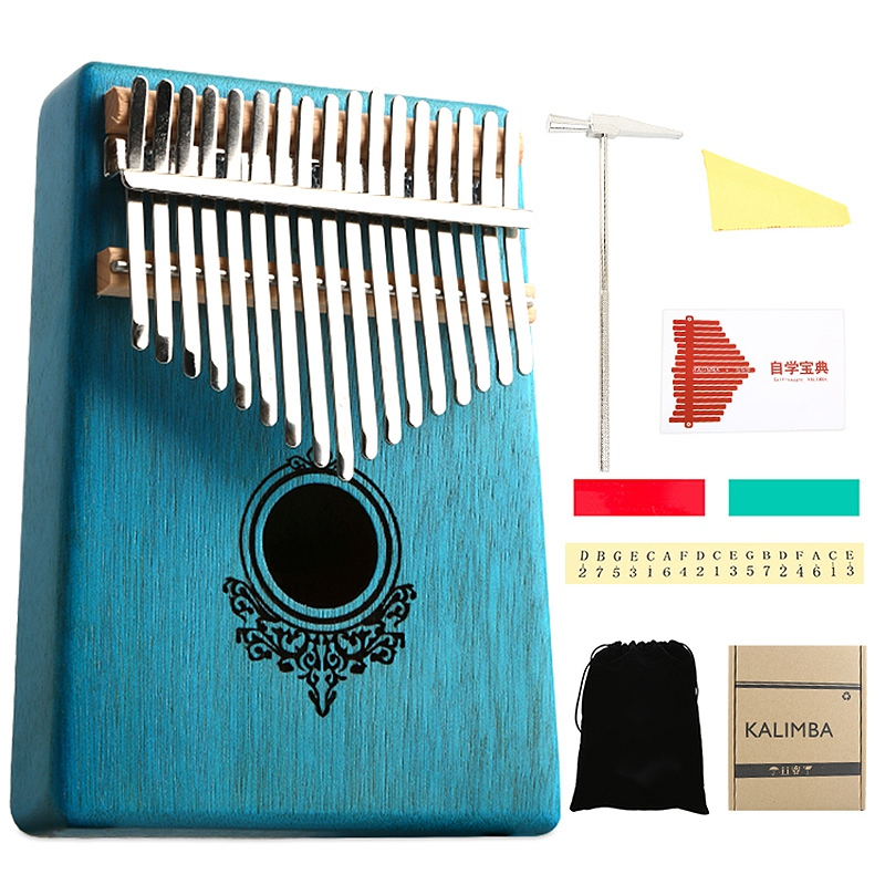 Kalimba Thumb Piano 17 Keys Mahogany Wooden With Hammer And Music Book For Music Lover Beginners Children