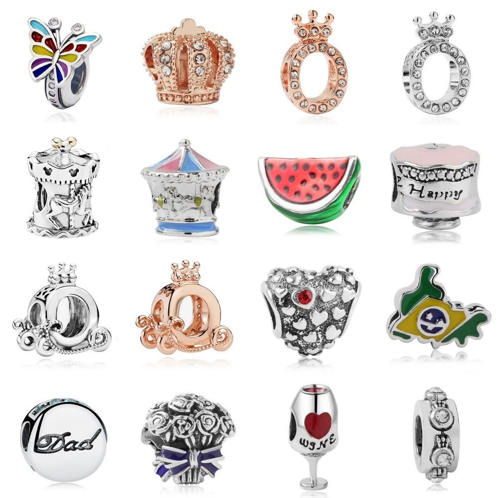 European Beads Crown Wine Brazil Map Butterfly Charms Diy Beads For Women 925 Original Pandora Charm Bracelet Change Jewelry(China)